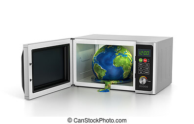 Global warming concept - earth in microwave. 3d illustration...