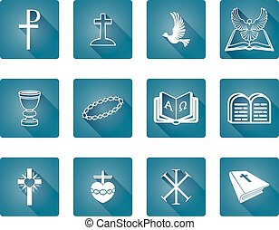 Christian Icons - A set of Christian religious icons and...
