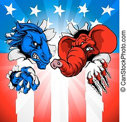 American Election Concept - Donkey and elephant tearing...