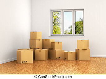 Empty room with a window and white walls with moving...