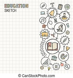 Education hand draw integrated icons set on paper. Colorful...