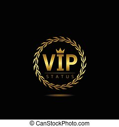 VIP status label Golden symbol with laurel wreath