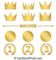 Golden award set First, second and third place symbols with...