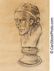 Hand drawn head, Illustration half face. Gypsum bust drawn...