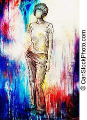 Standing figure woman, pencil sketch on paper. Watercolor background.