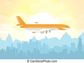 Plane flying over urban city - Morning city skyline....