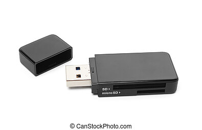 memory stick - Black USB memory stick isolated on white...