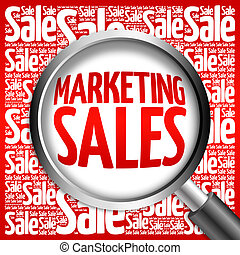 Marketing SALES word cloud with magnifying glass, business...