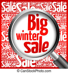 Big winter sale word cloud with magnifying glass, business...