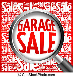 GARAGE SALE word cloud with magnifying glass, business...