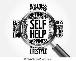 Self Help word cloud with magnifying glass, health concept