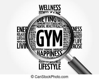 GYM word cloud with magnifying glass, health concept