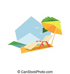 Beach Sunbed And Umbrella Flat Colorful Vector Illustration...