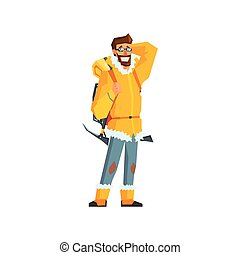 Mountaineer With Pickaxe Flat Colorful Vector Illustration...