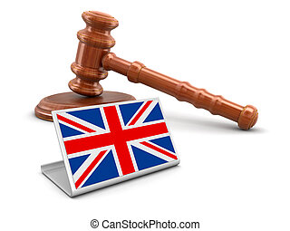 3d wooden mallet and British flag. Image with clipping path