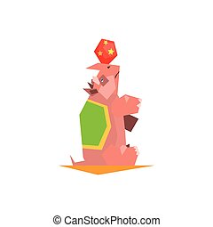 Circus Trained Rhino Performing Graphic Flat Vector Design...