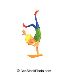 Circus Acrobat Performing Graphic Flat Vector Design...