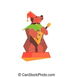Circus Trained Bear Performing Graphic Flat Vector Design...