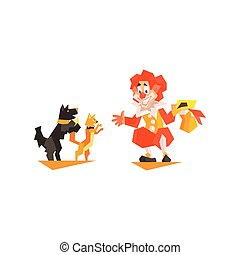 Circus Clown Pet Trainer Performing Graphic Flat Vector...