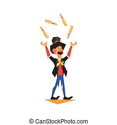 Circus Juggler Performing Graphic Flat Vector Design...
