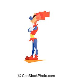 Circus Angry Clown Performing Graphic Flat Vector Design...
