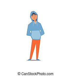 Guy In Hoody Vector Illustration - Guy In Hoody Isolated...