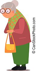 Old Lady Vector Illustration - Old Lady Isolated Primitive...