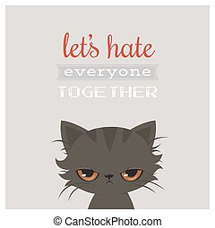 lindo, tarjeta, caricatura, enojado, gato, saludo, gato,...