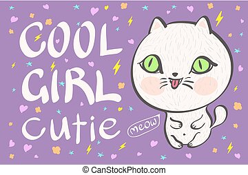 cool girl cutie little white cat vector illustration -...