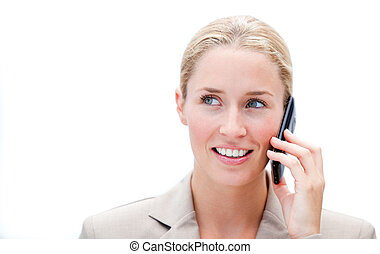 Portrait of a caucasian businesswoman talking on phone