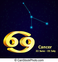 Vector zodiac sign Cancer Astrology Gold Cancer...