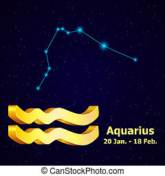 Vector zodiac sign Aquarius Astrology Gold Aquarius...