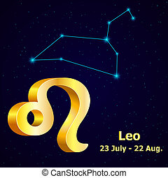 Vector zodiac sign Leo Astrology Gold Leo constellation