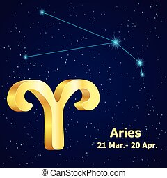 Vector zodiac sign Aries. Astrology. Gold Aries...