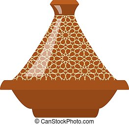 Moroccan tajine isolated on white background.