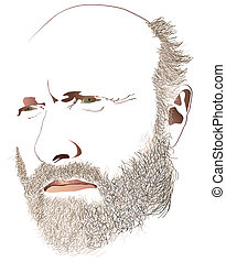Oldman - Illustration of an oldmans face with beard