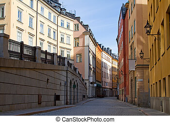 Stockholm, Old town street. - Cobblestone street in Old...