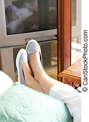 Close-up of woman\'s foot in a living-room