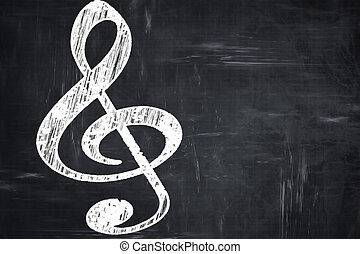 Chalkboard writing: Music note background