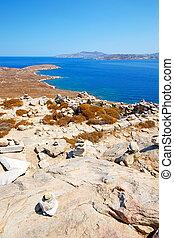 sea in delos old ruin site - in delos greece the historycal...