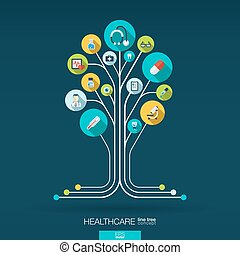 Abstract medicine background. Growth tree concept