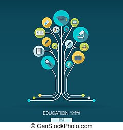 Abstract education background. Growth tree concept