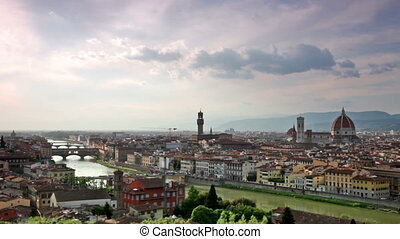 Beautiful scenery of Florence under dramatic sky