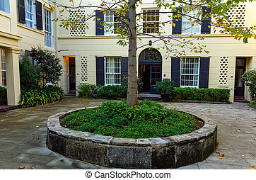 Courtyard of Old Classical Apartment Block in Sydney -...