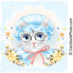 Vintage portrait of the cat with glasses and roses....