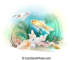 Illustration of the tropical underwater world Aquarium fish...