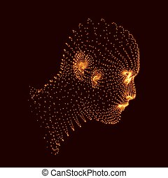 Head of the Person from a 3d Grid Human Head Model Face...