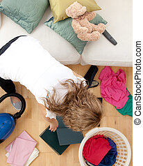Blond woman doing housework