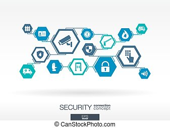 Security network. Hexagon abstract background