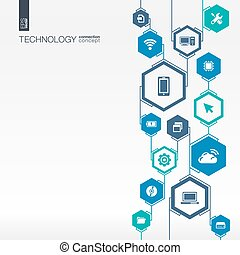 Technology network. Hexagon abstract background